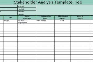 Free Stakeholder Analysis Template Excel Excelonist