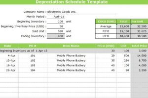 Depreciation Schedule Template Excel Free Printable
