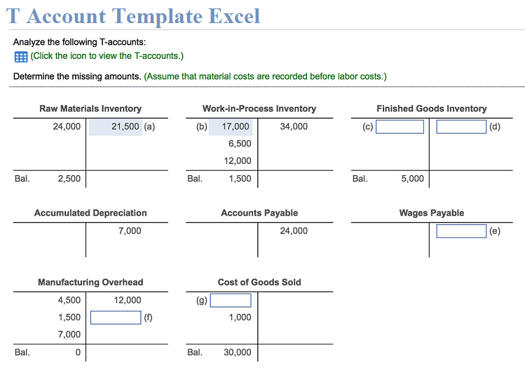 T Account Template Excel Free Download XLStemplates
