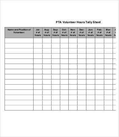 Tally Sheet Template 10 Free Word PDF Documents