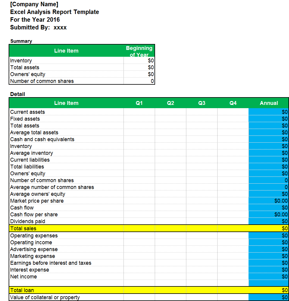 Excel Analysis Report Template Excel Word Templates