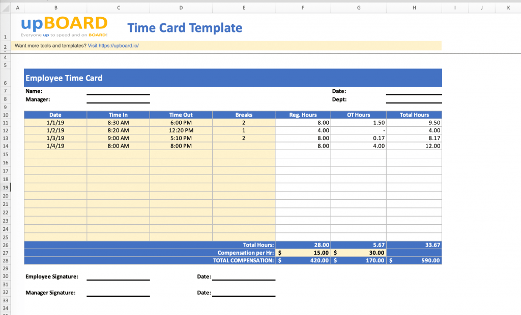 Time Card Online Web Tools Templates