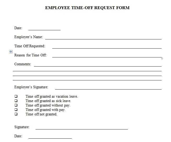 Employee Time Off Request Form Template Excel And Word