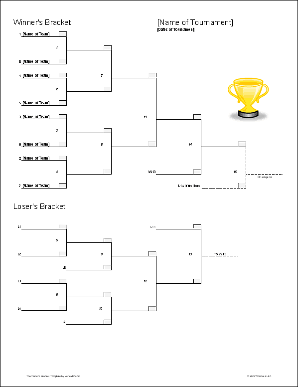 Tournament Bracket Templates For Excel 2020 March