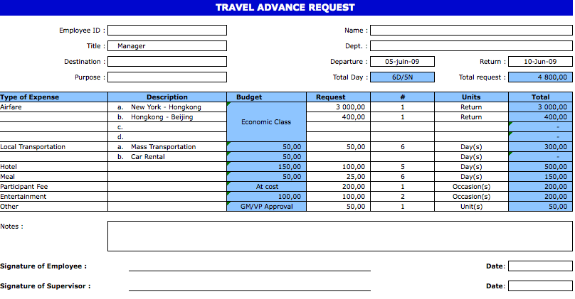 Business Travel Request Form Template Excel Joshymomo