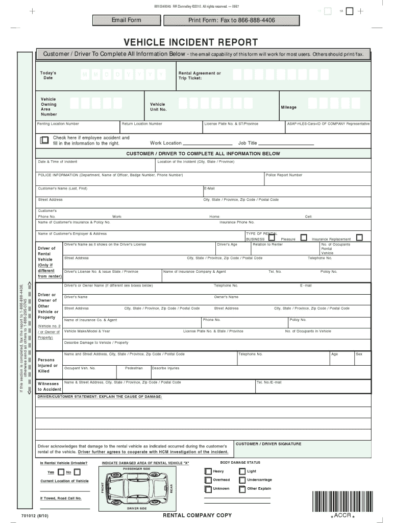 Vehicle Accident Report Form Template Fill Online