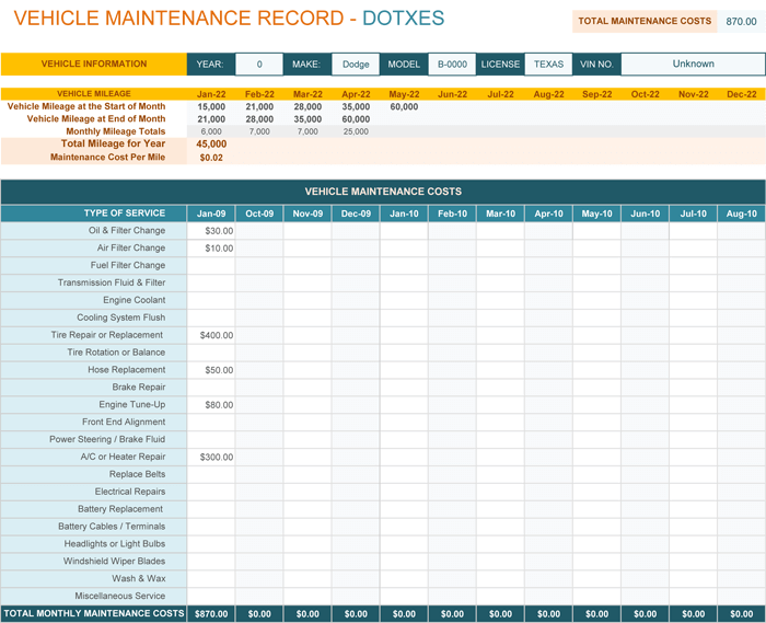 Vehicle Maintenance Log Template For Excel Monthly Dotxes