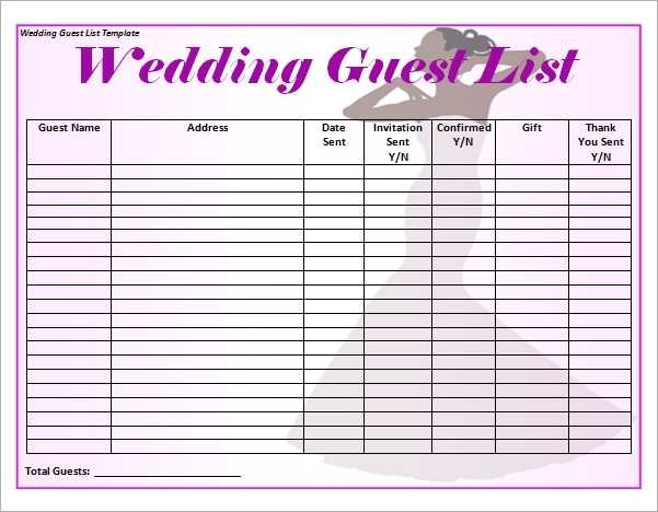 FREE 16 Wedding Guest List Templates In PDF MS Word Excel