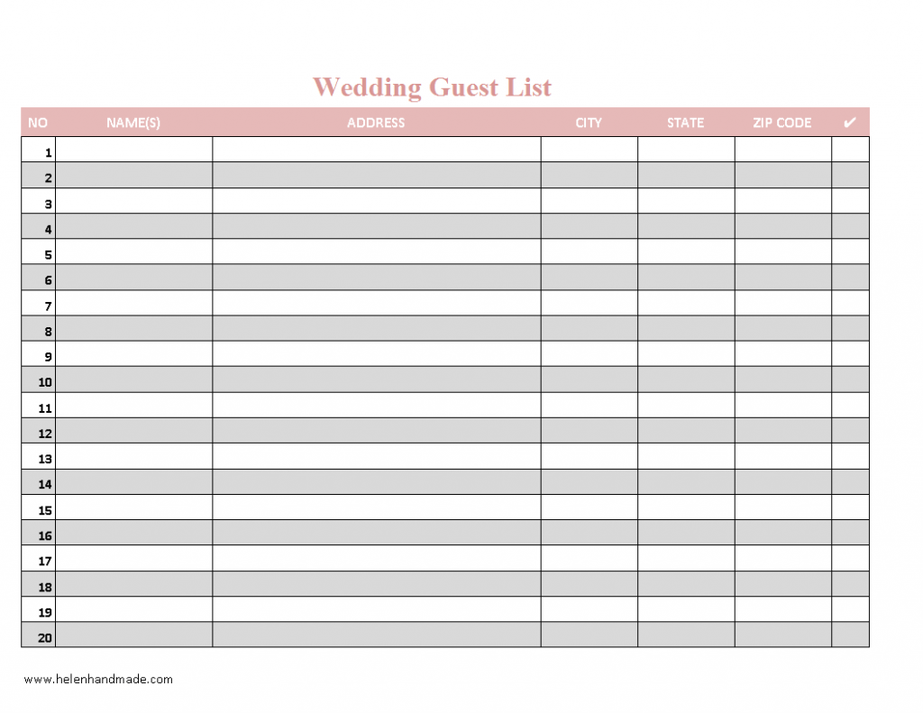Wedding Guest List Excel Spreadsheet Template For Your Needs