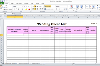 Wedding Guest List In Excel avec Images Planning