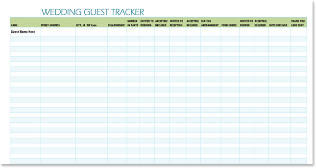 Best Wedding Guest List Templates And Wedding Guest