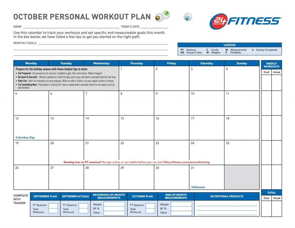 40 Effective Workout Log Calendar Templates TemplateLab