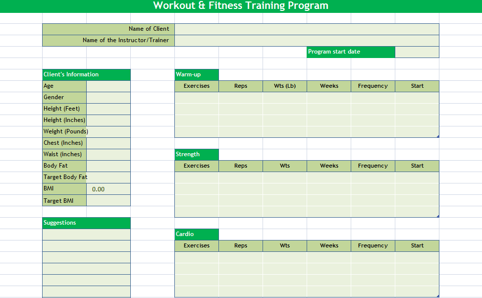 Excel Templates Workout Schedule Template 27 Free Word