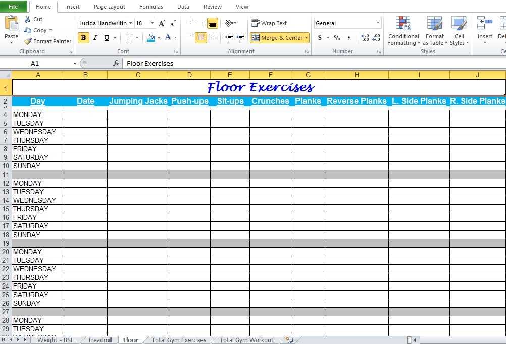 Gym Workout Plan Spreadsheet For Excel Excel TMP