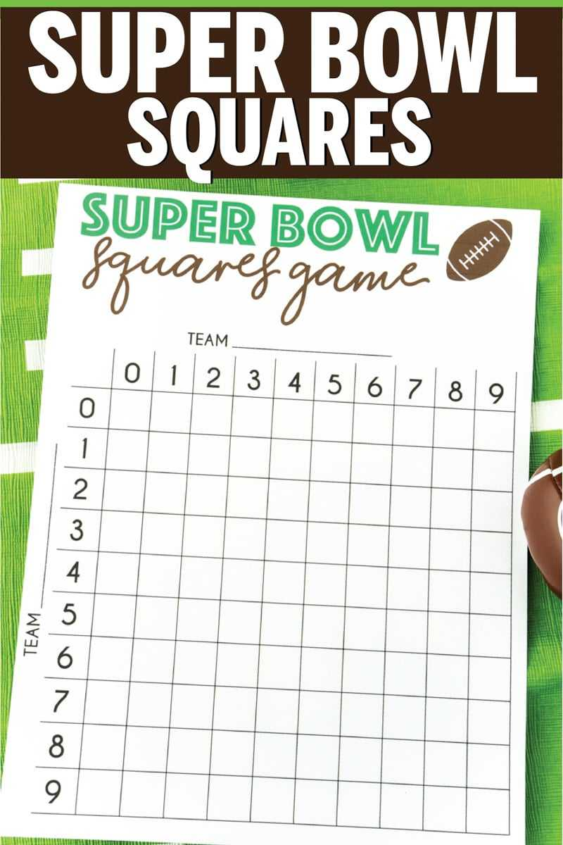 Super Bowl Squares Example
