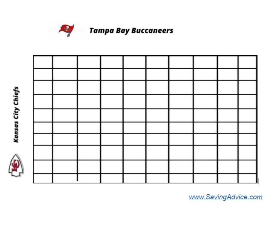 Sample Super Bowl Boxes Template Excel Squares