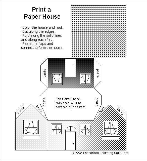 Beautiful Black And White Paper House Template