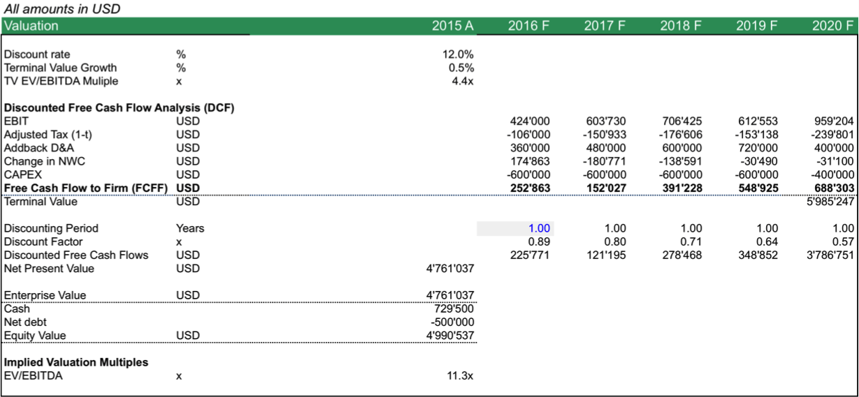 Discounted Cash Flow Forecast Template