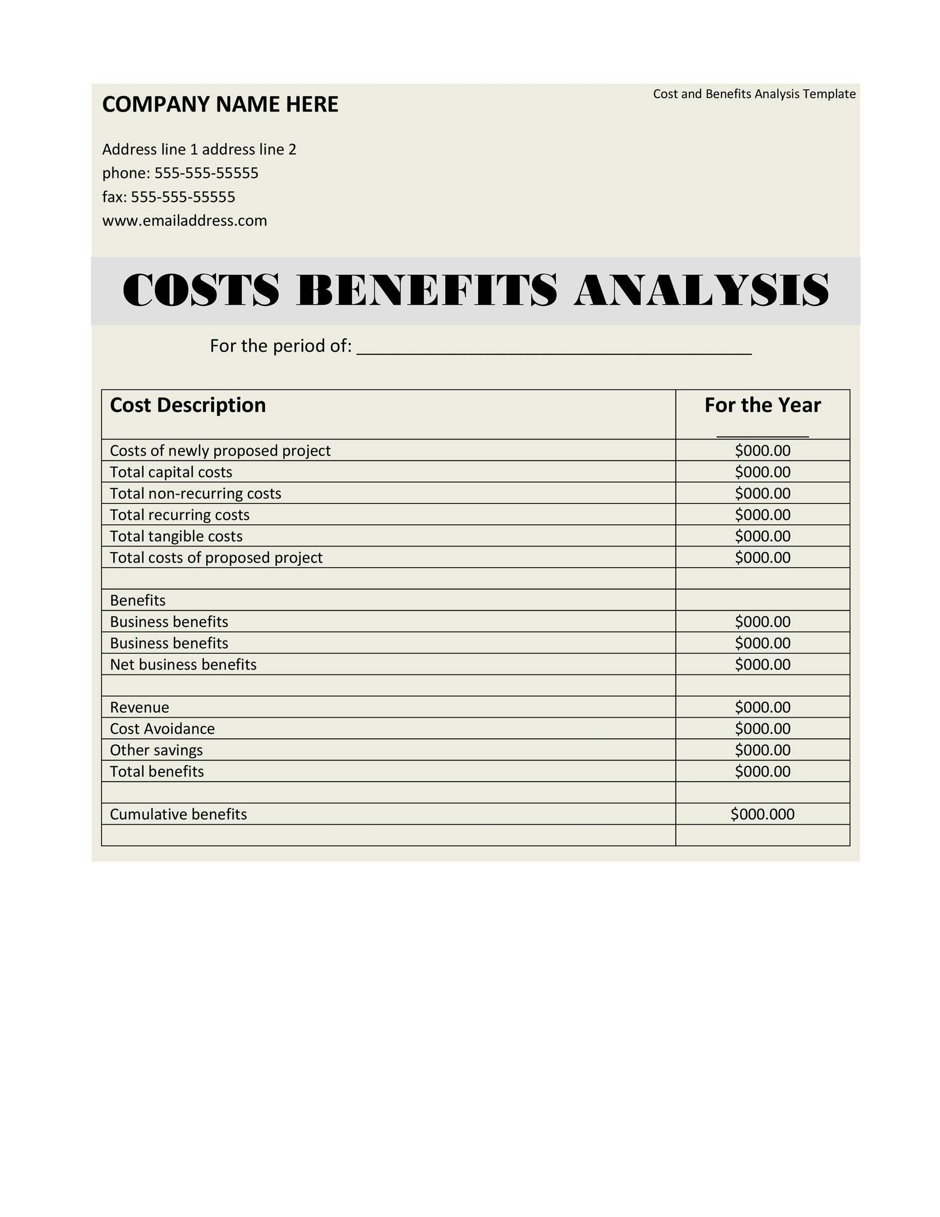 IT Project Benefit Cost Analysis Template Excel
