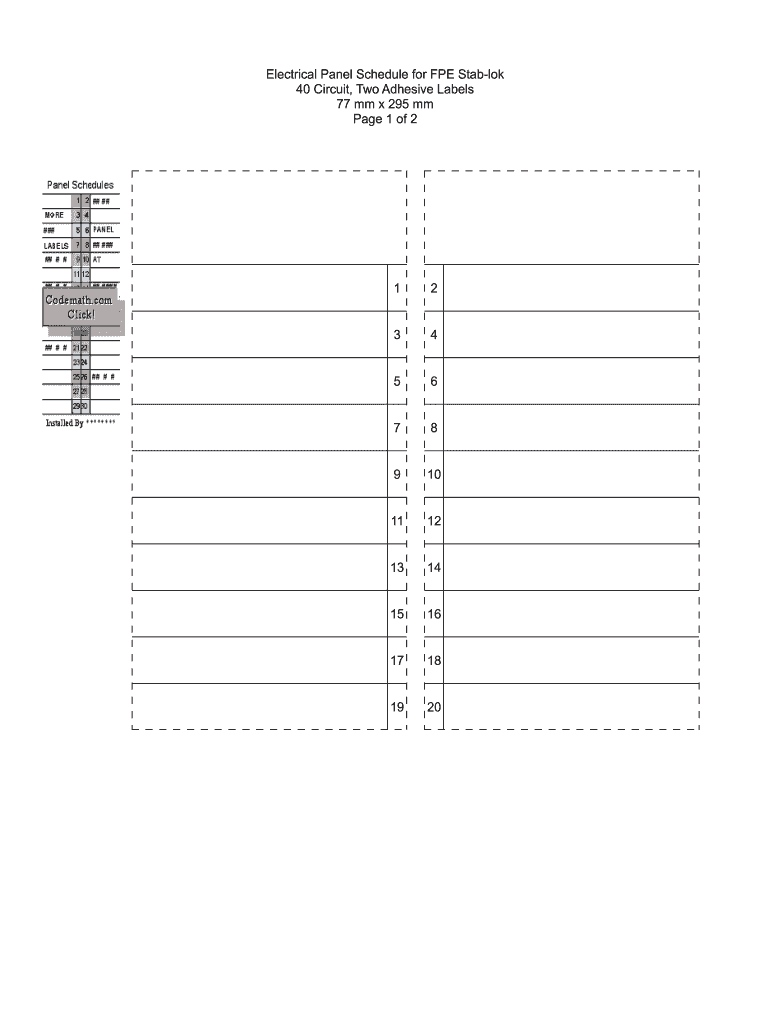 Circuit ElectricalPanel Schedule ExcelTemplate