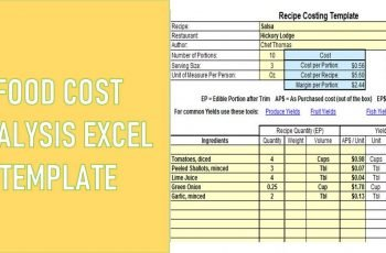 Food Cost Analysis Excel Template