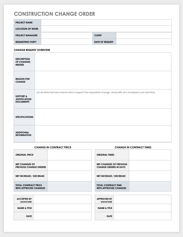 Change Order Request Template Excel
