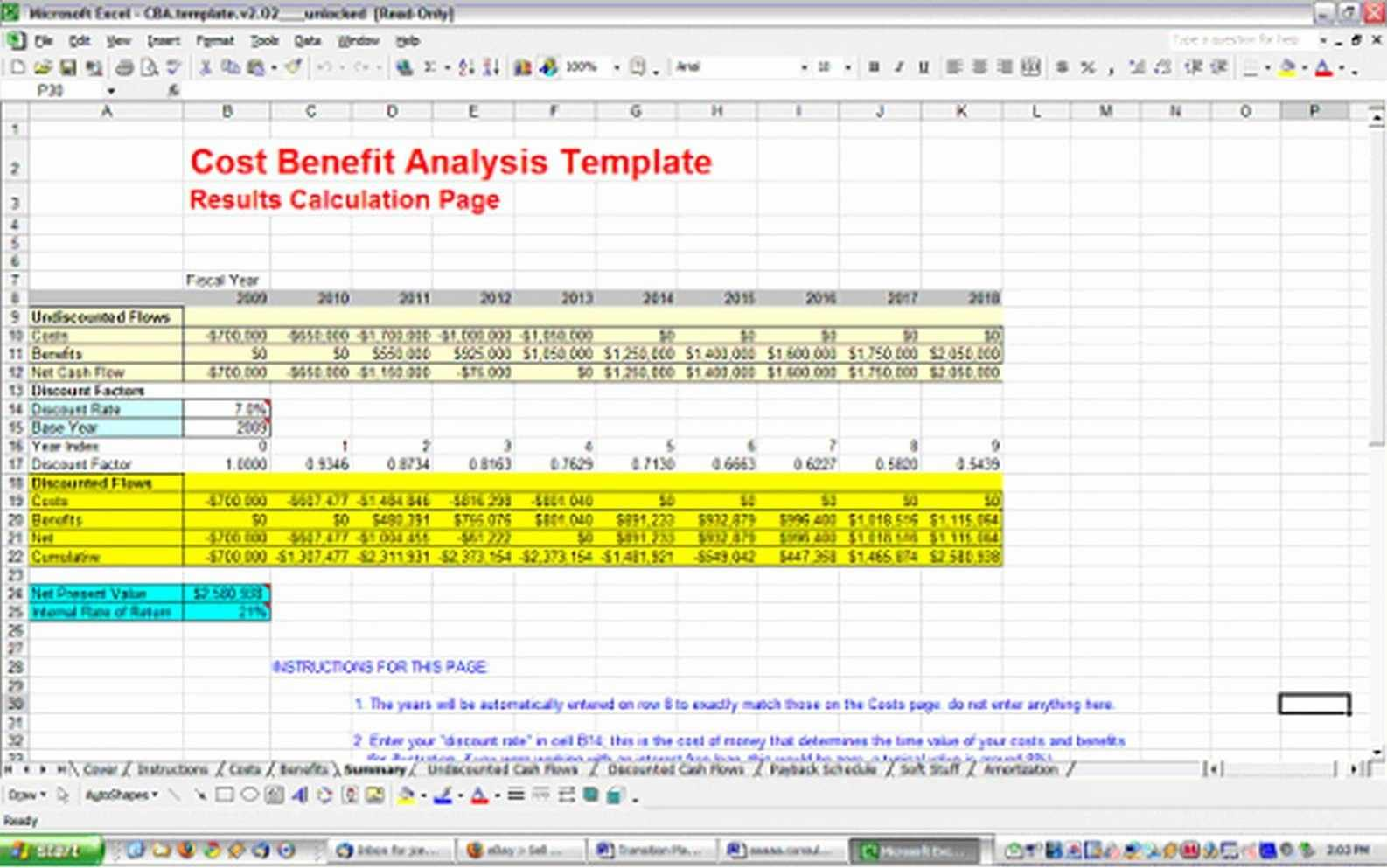 cost benefit analysis template excel free