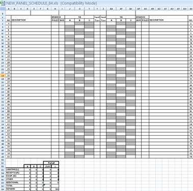 Load Panel Schedule Template