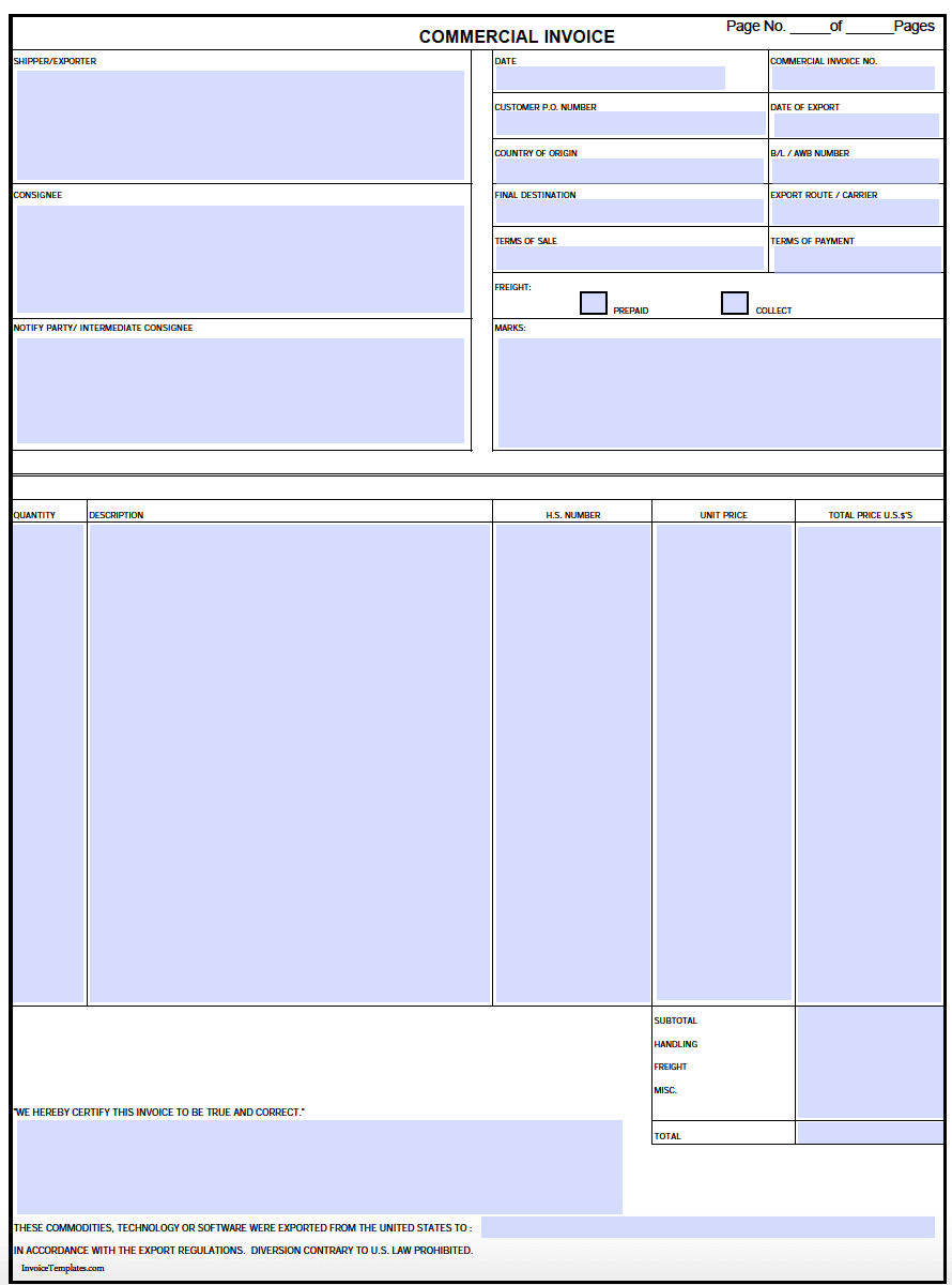 Commercial Shipping Invoice Template Excel