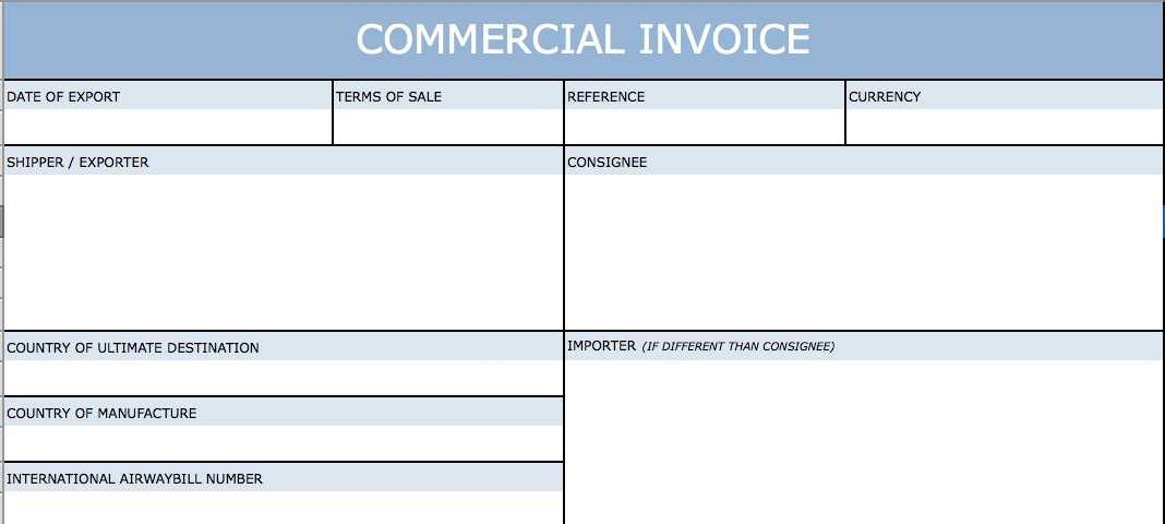 International Shipping Commercial Invoice Template Excel