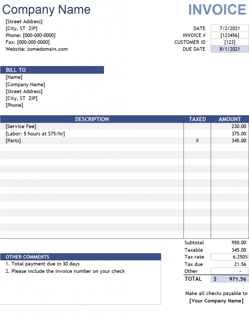 Download Excel Invoice Template in XLSX files